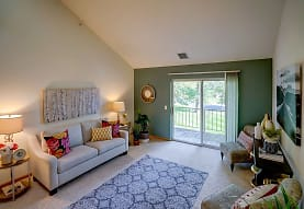 living room with carpet, vaulted ceiling, and natural light, Hawks Ridge