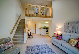 living room with carpet, range oven, and microwave, Hawks Ridge