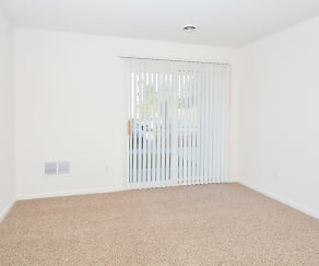 Living Room with Patio or Balcony Sliding Doors, South Pointe Apartments
