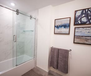 Luxury spacious bathrooms with sliding shower doors., Thorndike Exchange