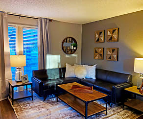 Living Room, The Place at Forest Ridge Apartments