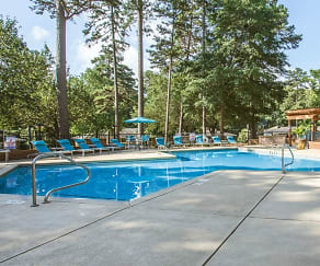 Pool surrounded by beautiful trees., The Timbers