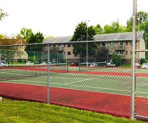 Tennis court at Cedarwood Village Apartments in Akron, Ohio, Cedarwood Village