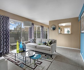 Living Room with Large Sliding Door out to your Private Patio, Capitol Towers