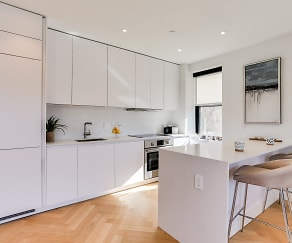 Newly renovated kitchen with Quartz countertops and an integrated fridge and dishwasher, The Century