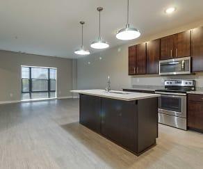 Kitchen, Lumber Exchange Apartments