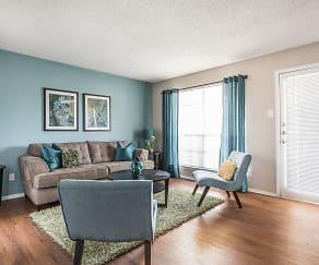 Living Room Front Door - Fox Trails Apartments, Fox Trails
