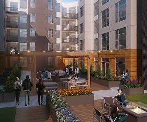 Courtyard with social space and barbeque grills, Modera Redmond