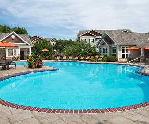 Resort-style hilltop pool with sundeck, Carrington Place at Shoal Creek