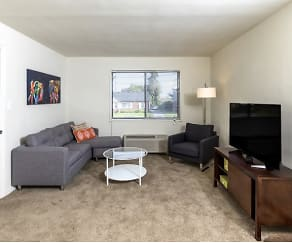 Living Room, Evergreen Apartments At New Castle Crossing