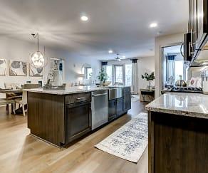 Beautiful Luxury Kitchen, with Granite kitchen counter tops, gormet kitchen island, tile kitchen backsplash. Built in wine chiller. Contemporary kitchen faucet with retractable wand sprayer, The Laurel