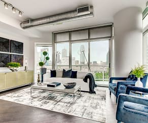 Open Living Room with Floor to Ceiling Windows, Natural Hardwood Flooring, Nest Thermostats and Solar Shades, Cirque