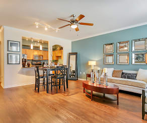 Spacious Living Room, Open concept floor plan, with natural light. Ceiling fan and faux wood flooring. Beautiful open kitchen., La Villita Landing