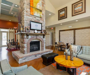 Interior view of Leasing Office with fireplace, The Grove at Waterford Crossing