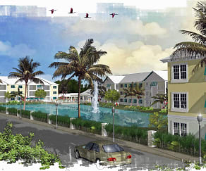 Mosaic at Oak Creek: rendering of property palm trees and pond, Mosaic at Oak Creek