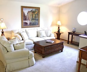 Living Room, Waters Edge Luxury Apartments