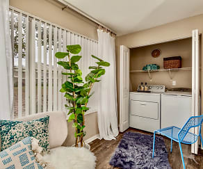 Full Size washer and dryer in each apartment convenient and strategically hidden behind folding doors., Fusion Apartments