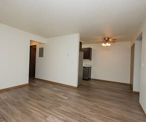 Prairie One Apartments - Two Bedroom - Living and Dining Area, Kentwood Manor Office