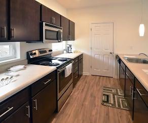 Kitchen, Net Zero Village Apartments