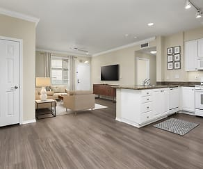 Kitchen, living, and dining area with hard surface plank flooring (in select homes), Avalon Glendale