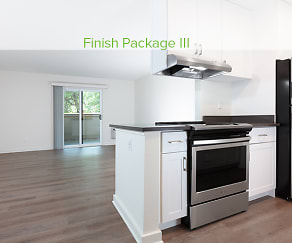 Kitchen, living, and dining areas with hard surface flooring, eaves Fremont