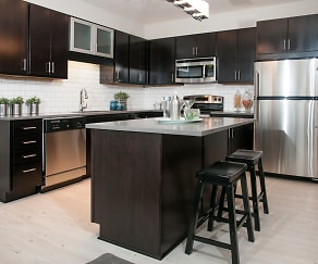 Double Dipped Espresso Cabinetry with Glass Accents, Red 20 Apartments