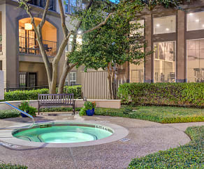 Hot tub surrounded by beautiful landscaping, The Arches at Park Cities