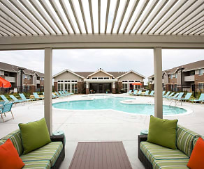 Pool and Grilling Area, SunSTONE Apartment Homes at Fox Ridge