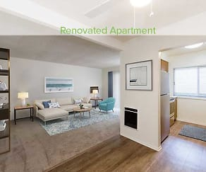 Two-bedroom Renovated living and kitchen area (in select homes), eaves Huntington Beach