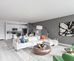 Living Room, 50 Front Luxury Apartments