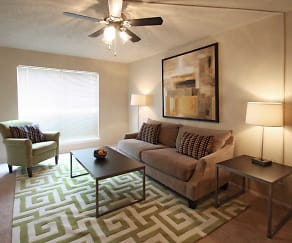 Living Room, Woodchase Apartments