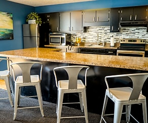 The clubhouse kitchen makes entertaining easy., Baker Crossing