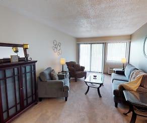 Living Room, Ridge Oaks Apartments