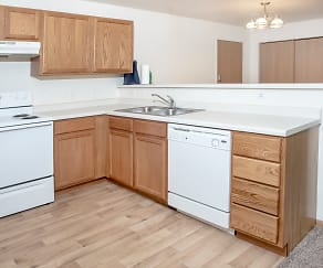 Updated Kitchens with Faux Wood Flooring & Laminate Countertops, Evergreen Apartments
