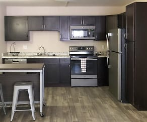 Kitchen, The U at Park- By The Bed Rentals
