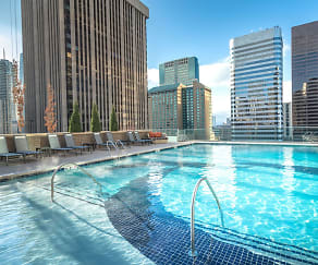 Glass-sided pool and spa with skyline views, The Quincy