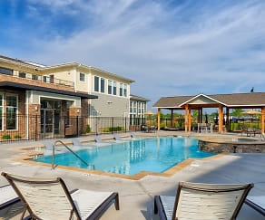 Heated saltwater pool with tanning deck, The Haven at Shoal Creek
