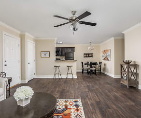 Open Concept Renovated Living and Dining Room - Live Oak Trace Apartments, Live Oak Trace