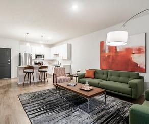 Our contemporary design scheme features white cabinetry and white quartz countertops, The Conrad