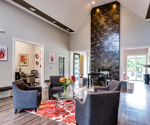 Clubhouse with fireplace, Harbor Creek Apartments