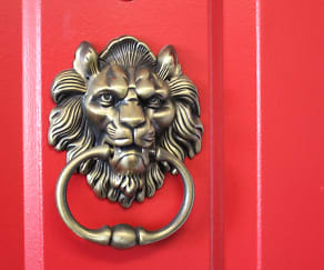 Every door gets their own lion knocker!, Red Lion Apartments