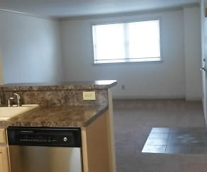 Kitchen bar opens to spacious living room!, 490 E. North St.