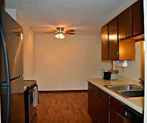 Beautiful hardwood floors grace the kitchen and dining room., Woodland North