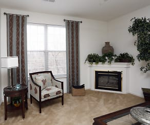 Spacious Living Room with Fireplace - Riverchase Apartments, Riverchase Apartments