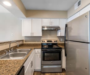 Kitchen with Stainless Steel Appliances, Lake Village West Apartments