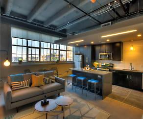 Living Area at The Boss at Roaster's Block Apartments in Kansas City, MO, ROASTER'S BLOCK