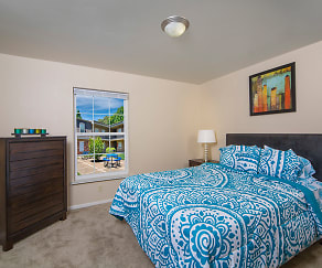 Bedroom, Eco Square Apartments of Evansville