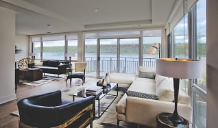 Living Room with Panoramic Hudson River Views, River Tides at Greystone