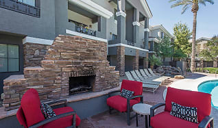 Stadium Vue Townhomes Exterior Fireplace and Lounge Area, Stadium Vue Townhomes