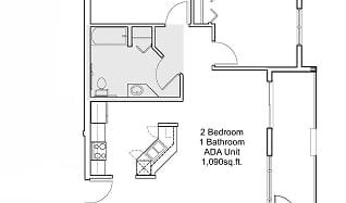 2 bedroom 1 bathroom ADA floor plan, 3705 South Broadway Street
